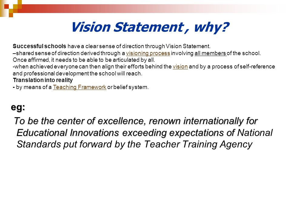 Vision Statement , why eg: