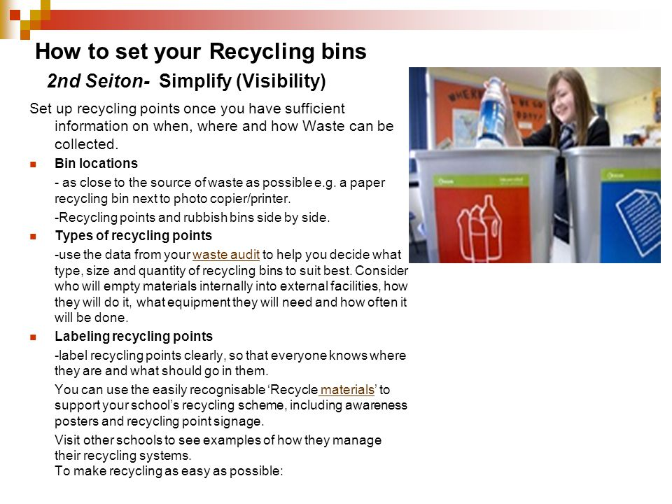 How to set your Recycling bins