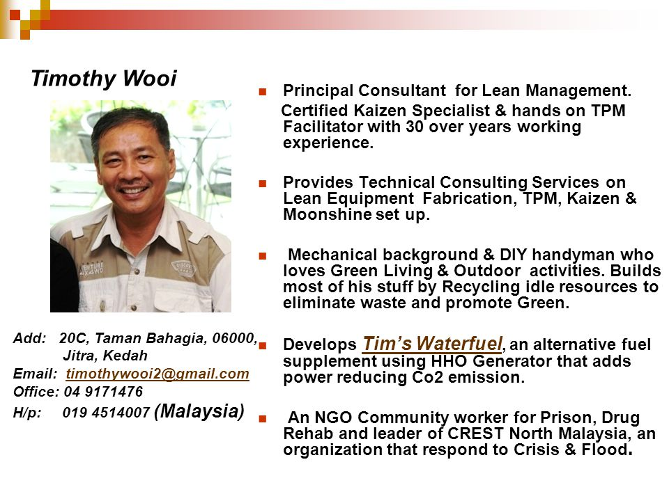 Timothy Wooi Principal Consultant for Lean Management.