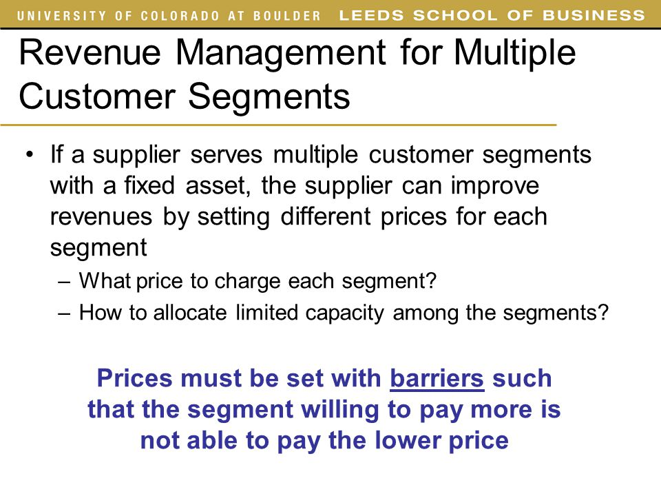 Revenue Management for Multiple Customer Segments
