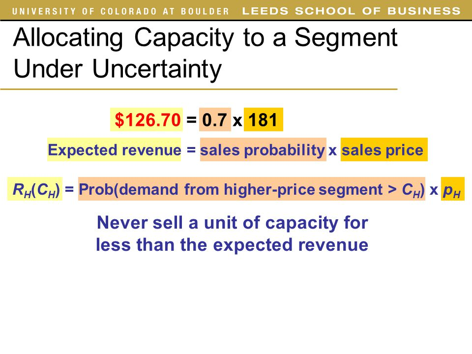 Allocating Capacity to a Segment Under Uncertainty