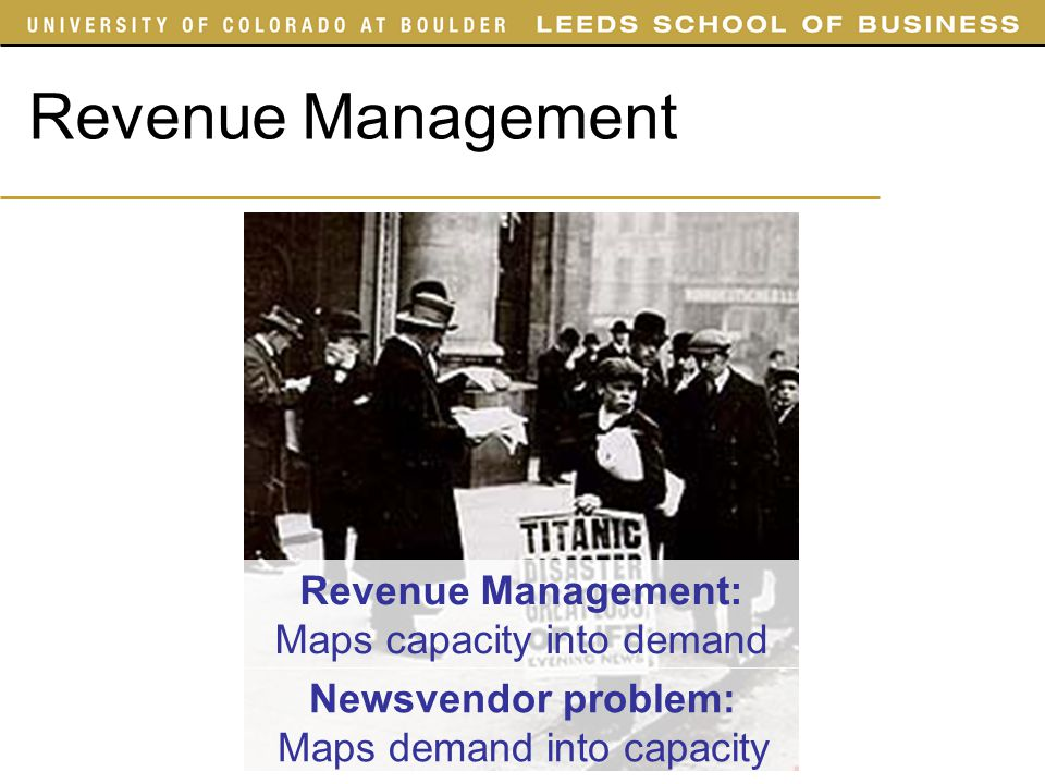 Revenue Management Revenue Management: Maps capacity into demand