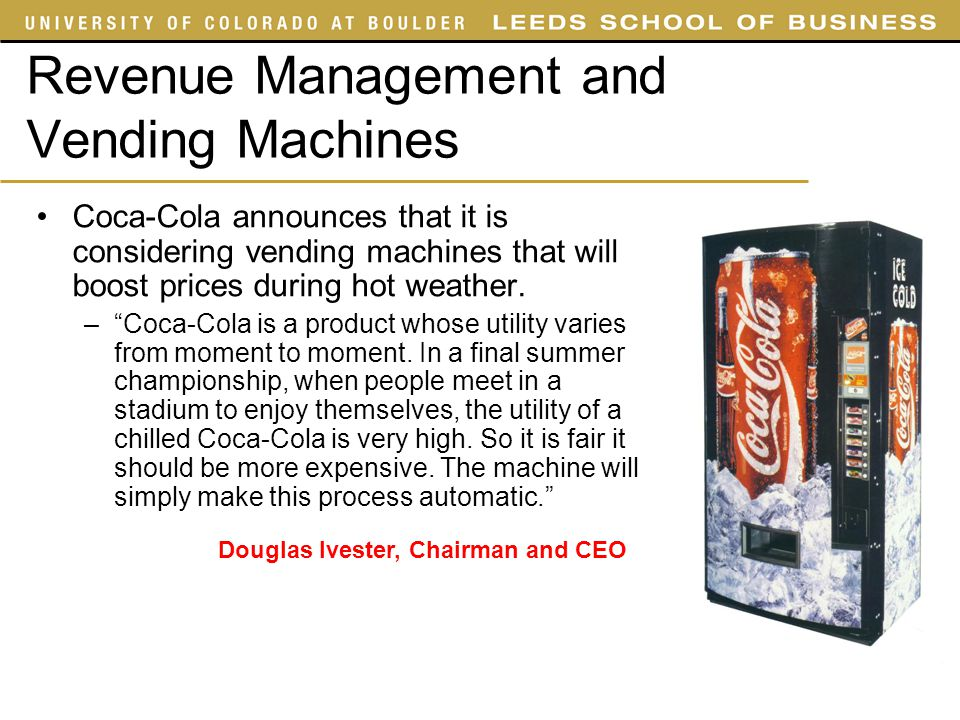 Revenue Management and Vending Machines