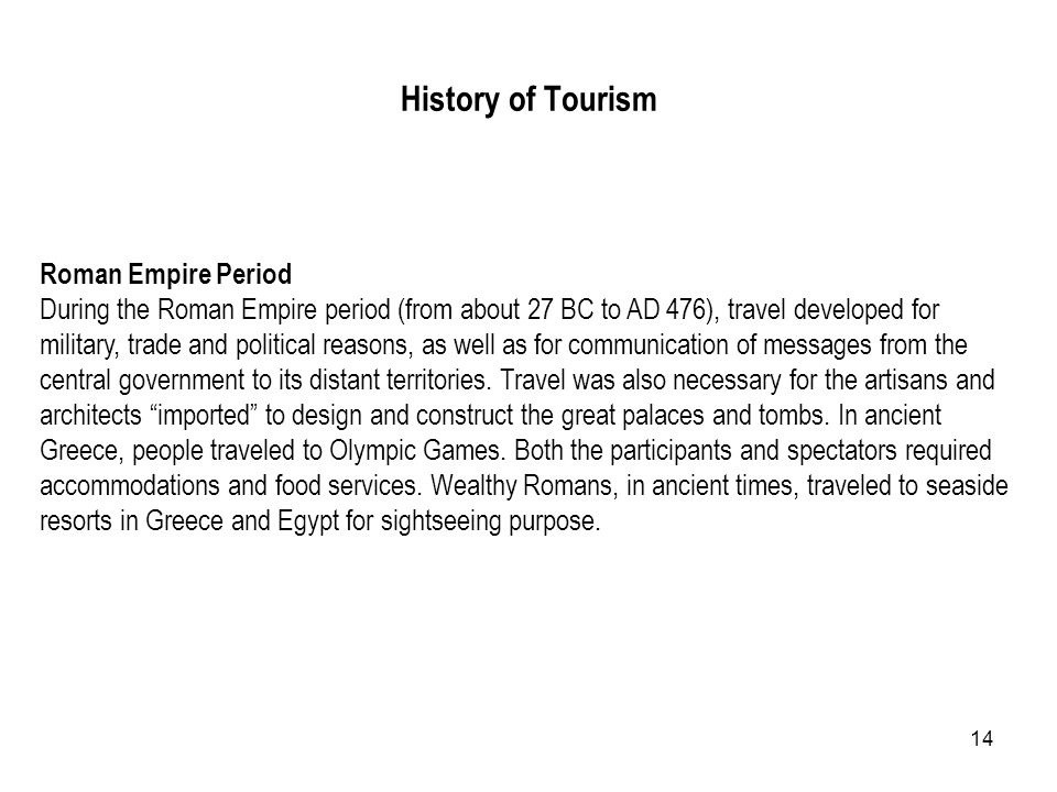 History of Tourism Roman Empire Period