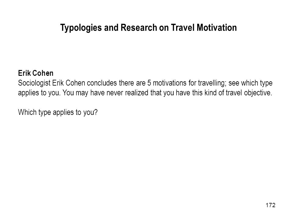 Typologies and Research on Travel Motivation