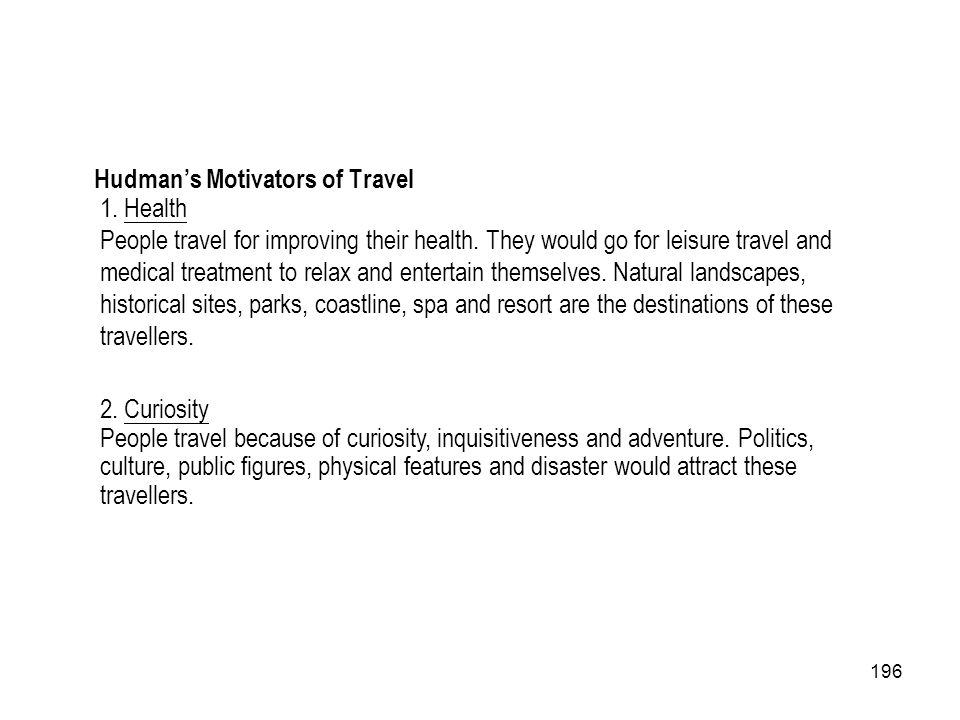 Hudman's Motivators of Travel