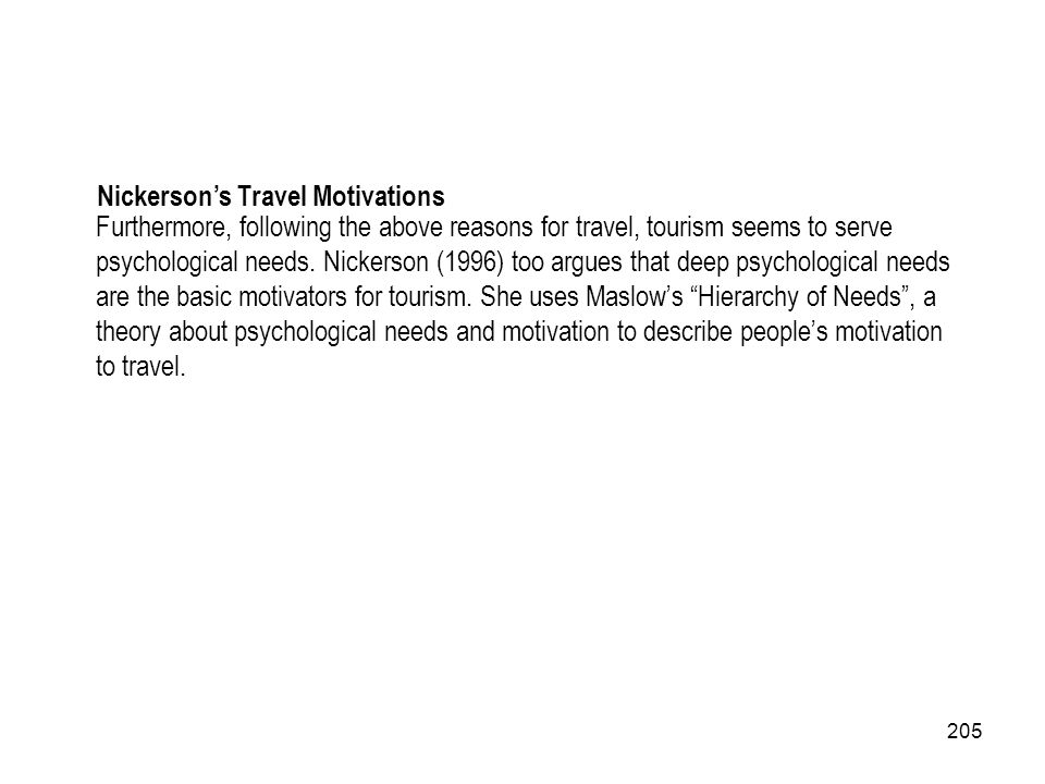 Nickerson's Travel Motivations