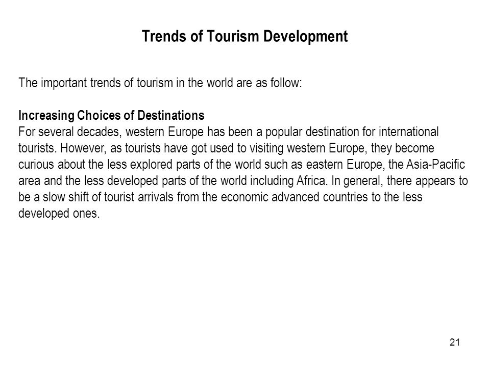 Trends of Tourism Development