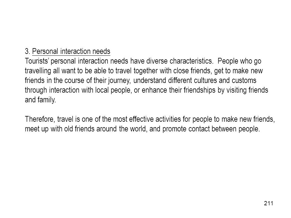 3. Personal interaction needs