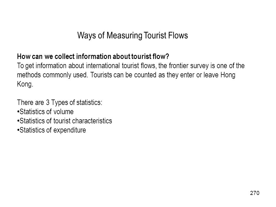 Ways of Measuring Tourist Flows