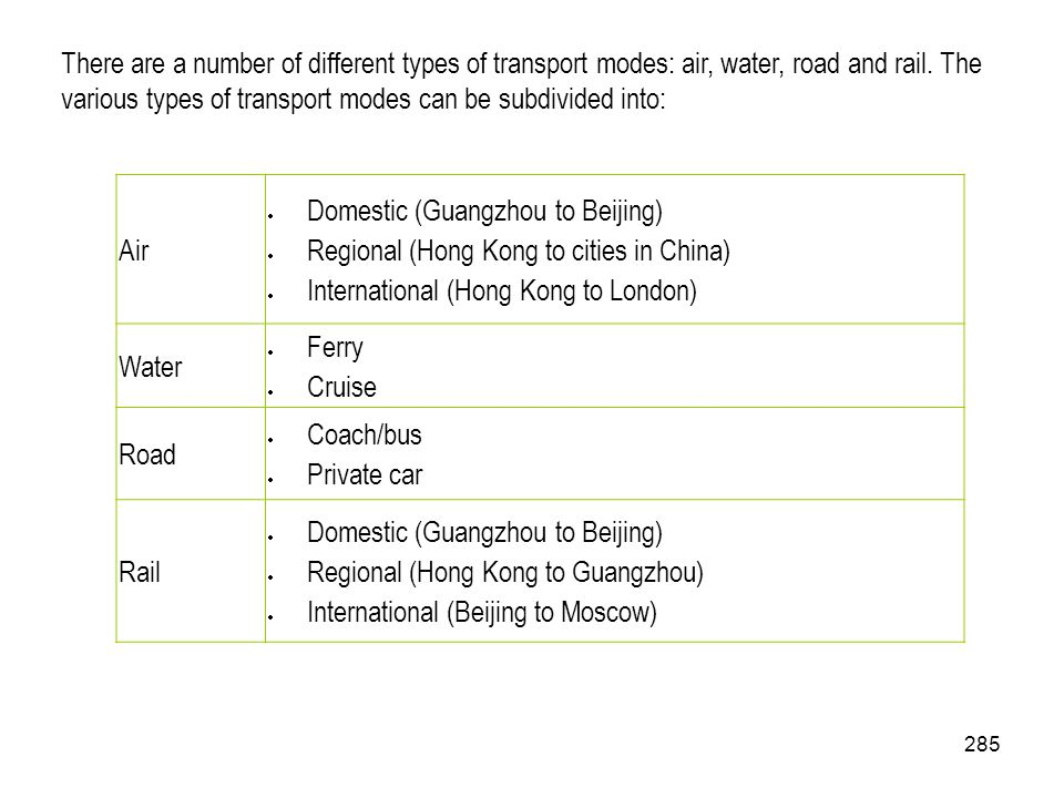 There are a number of different types of transport modes: air, water, road and rail. The various types of transport modes can be subdivided into:
