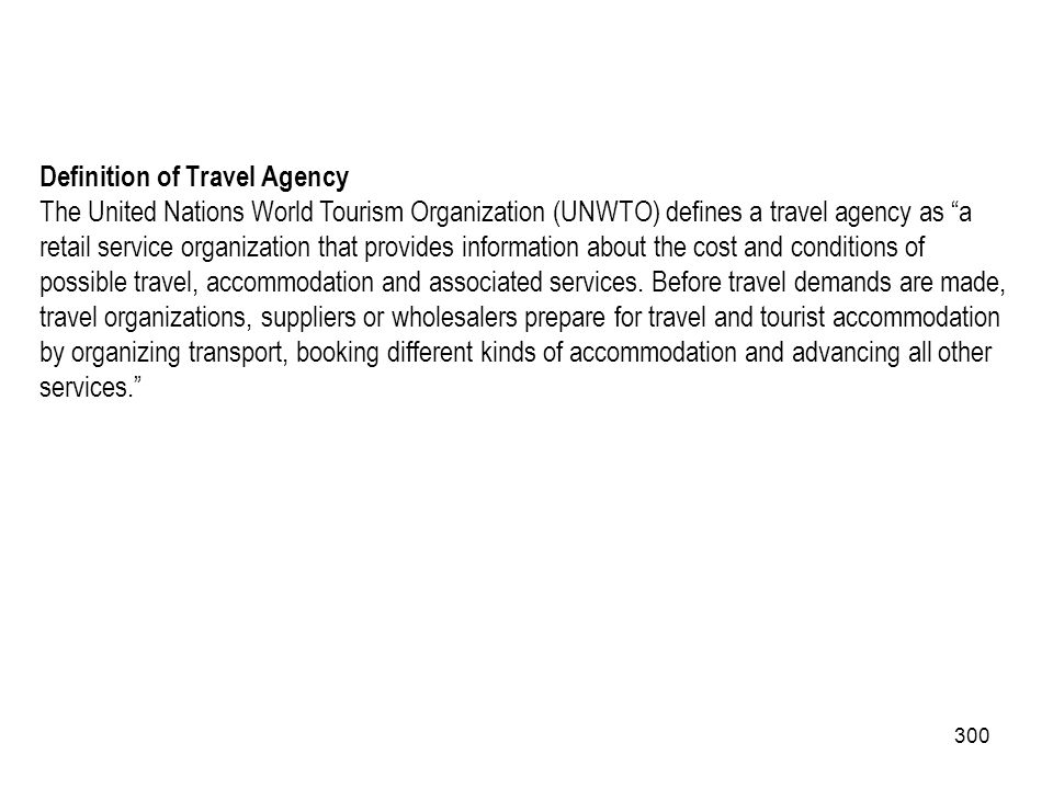 Definition of Travel Agency