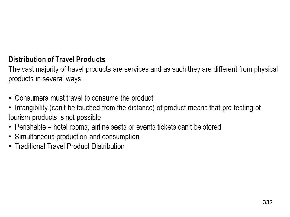 Distribution of Travel Products