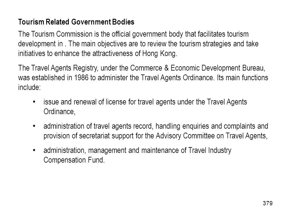 Tourism Related Government Bodies