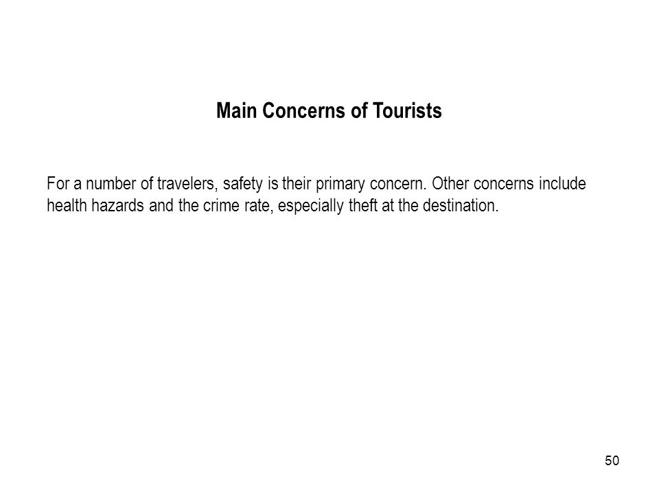 Main Concerns of Tourists