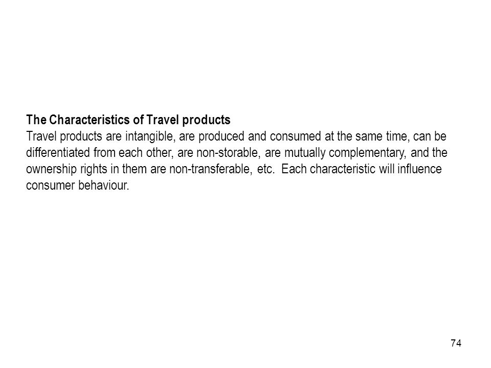 The Characteristics of Travel products