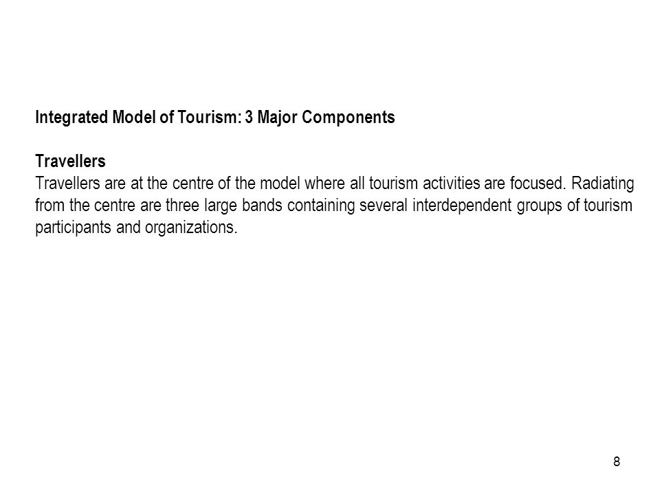 Integrated Model of Tourism: 3 Major Components