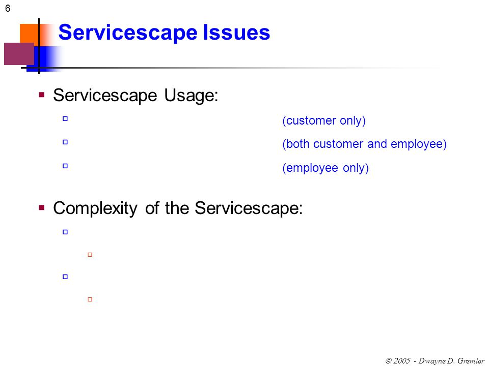 Servicescape Issues Servicescape Usage: