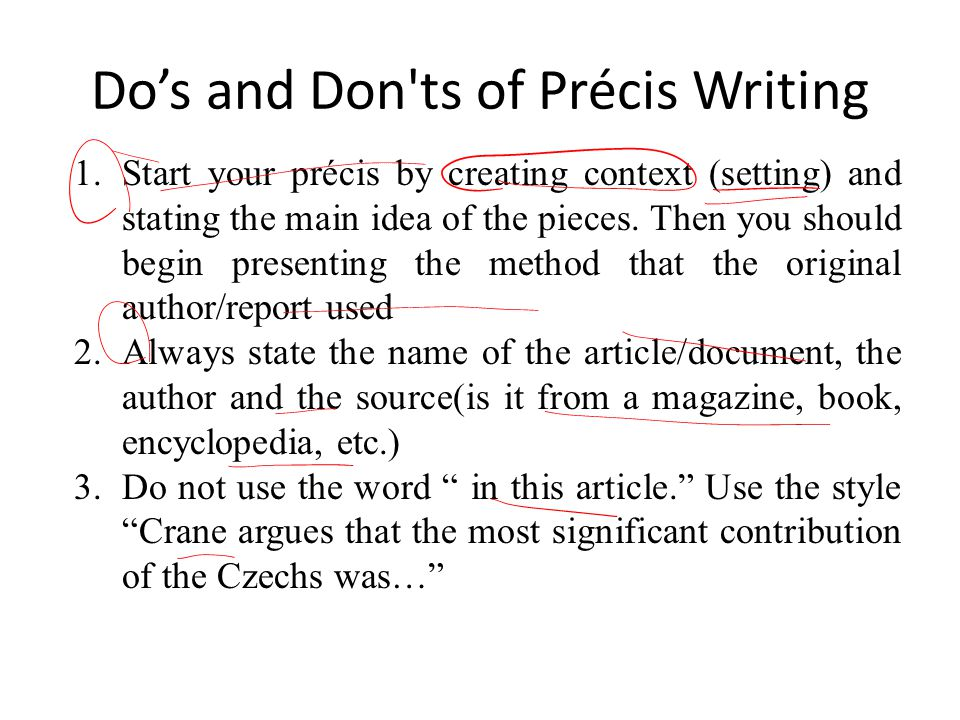 precis writing tips