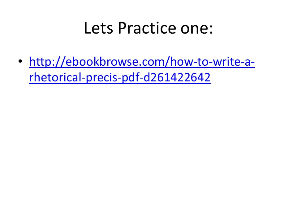 how to write a precis pdf