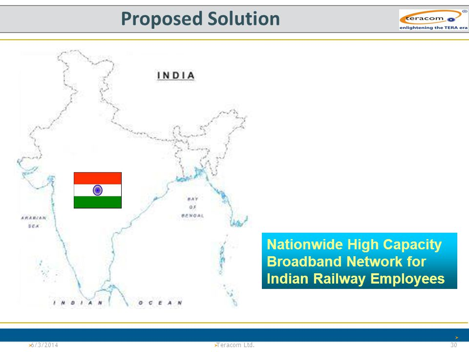 Proposed Solution Nationwide High Capacity Broadband Network for Indian Railway Employees. 3/31/2017.