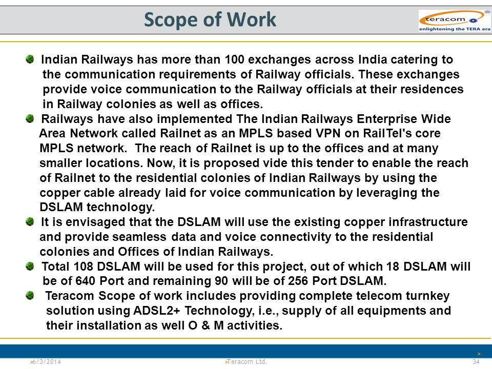 Scope of Work Indian Railways has more than 100 exchanges across India catering to.