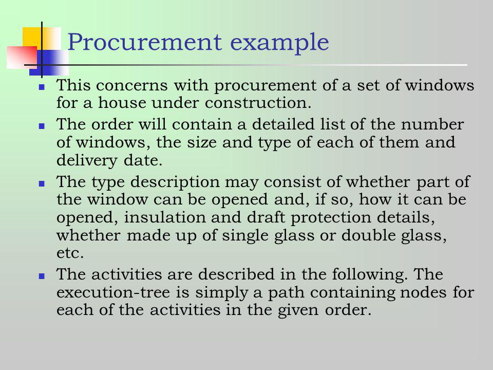 Procurement example This concerns with procurement of a set of windows for a house under construction.
