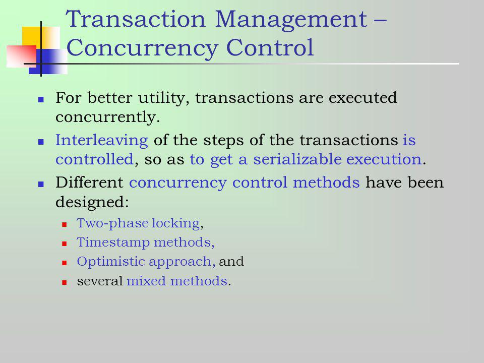 Transaction Management – Concurrency Control