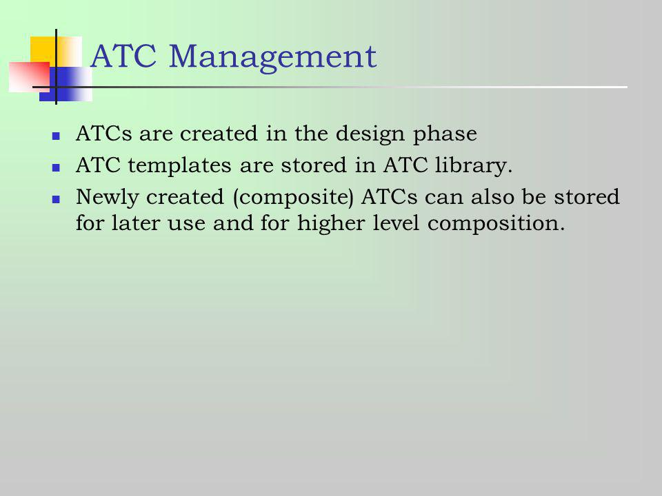 ATC Management ATCs are created in the design phase