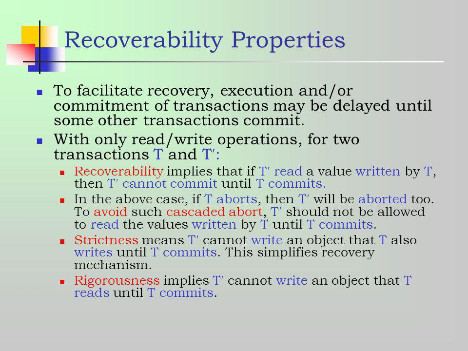 Recoverability Properties