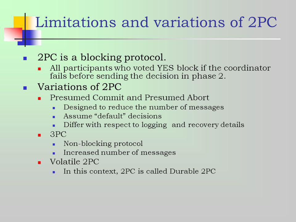 Limitations and variations of 2PC
