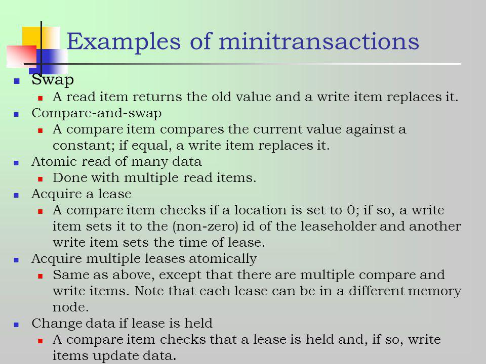 Examples of minitransactions