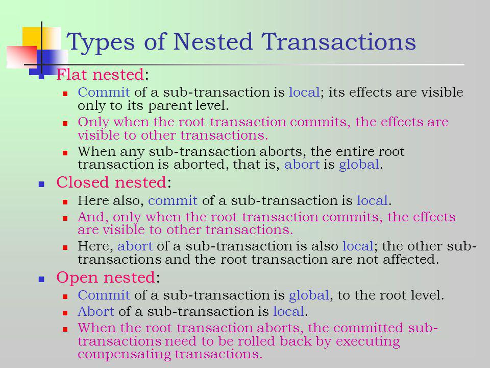 Types of Nested Transactions