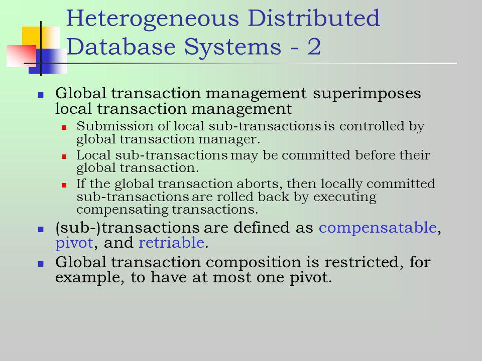 Heterogeneous Distributed Database Systems - 2