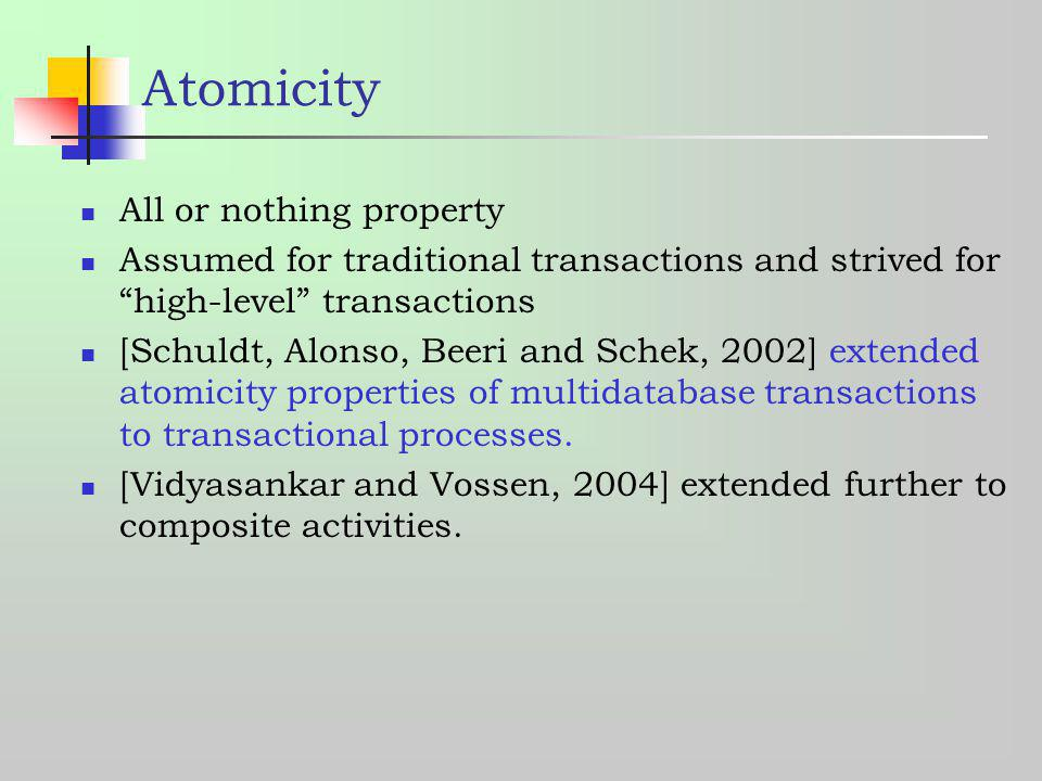 Atomicity All or nothing property