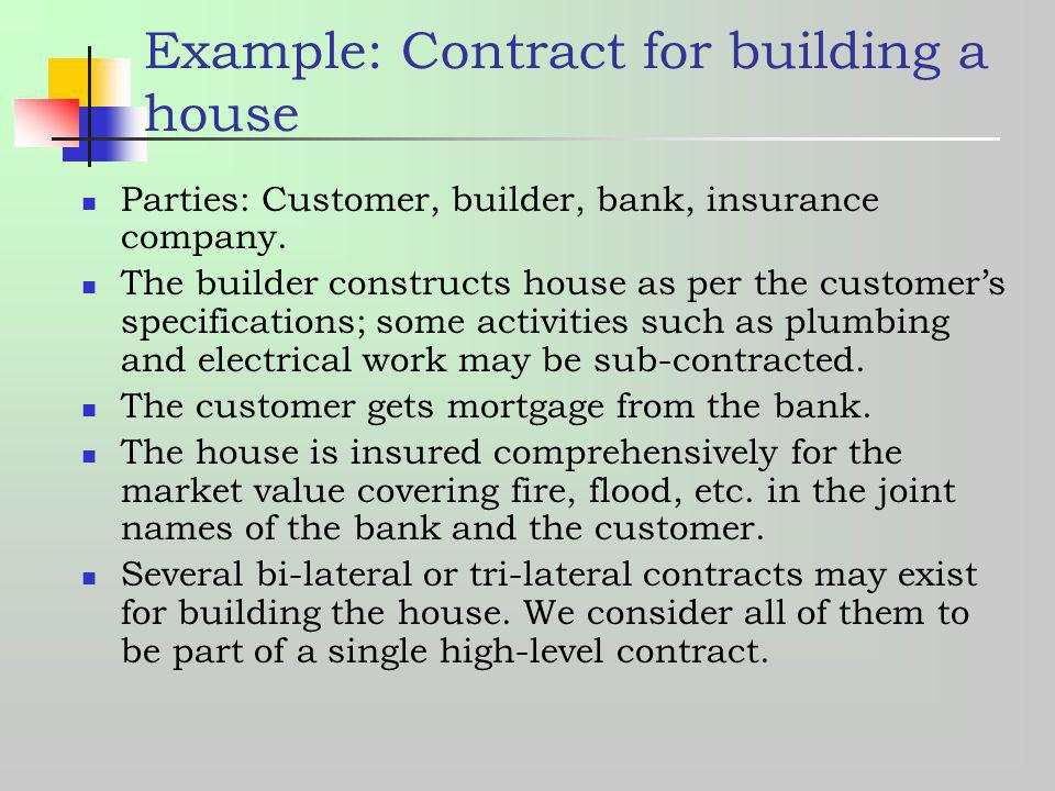Example: Contract for building a house