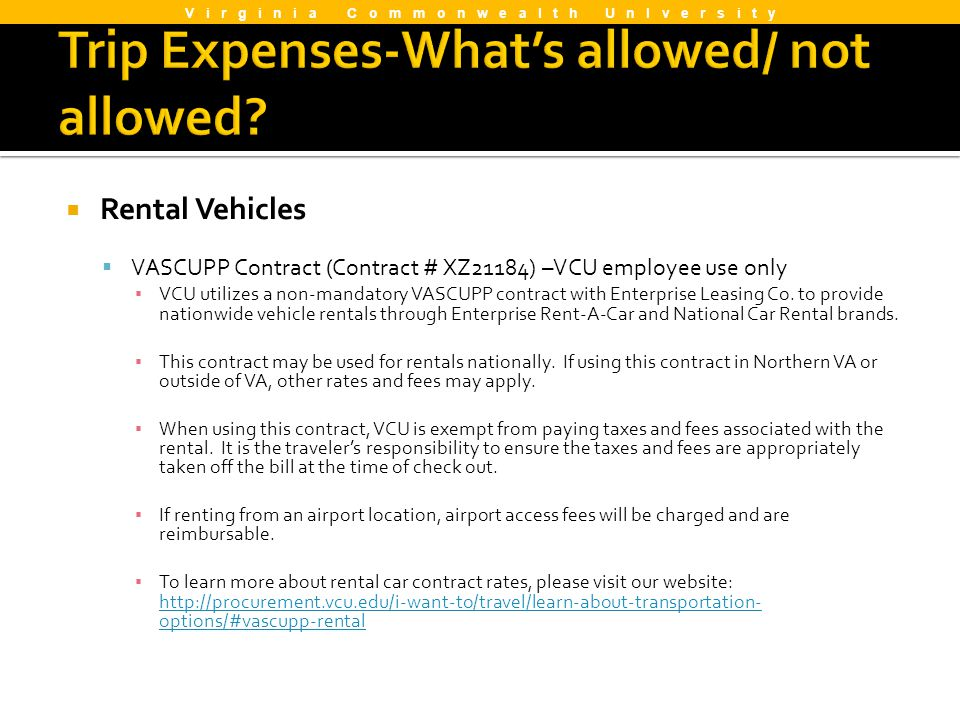 Trip Expenses-What's allowed/ not allowed