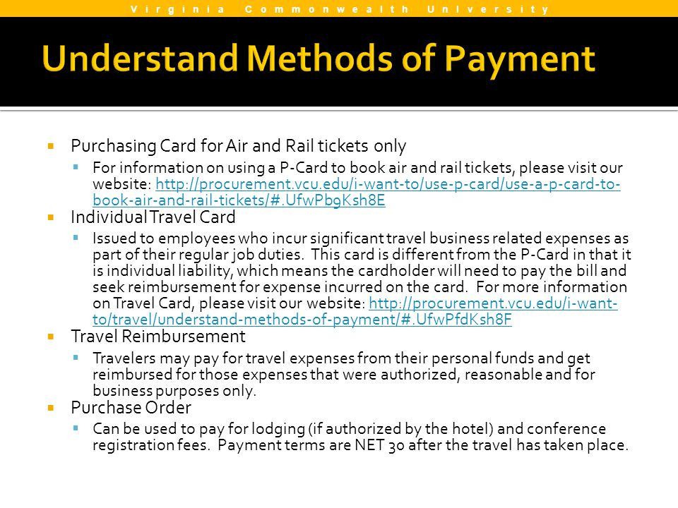 Understand Methods of Payment
