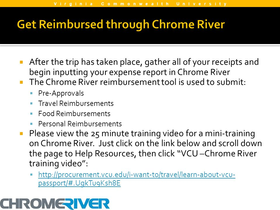 Get Reimbursed through Chrome River