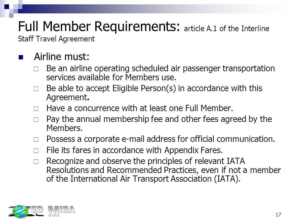 Full Member Requirements: article A