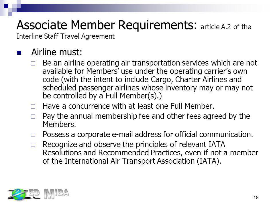 Associate Member Requirements: article A