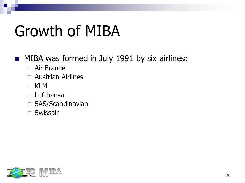 Growth of MIBA MIBA was formed in July 1991 by six airlines: