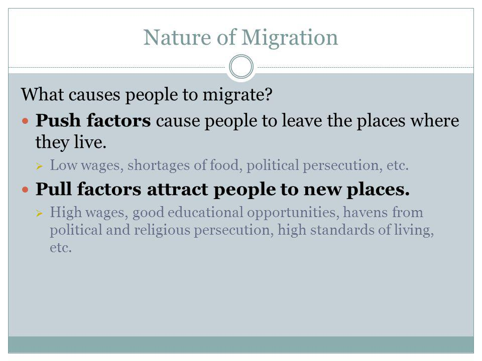 Nature of Migration What causes people to migrate