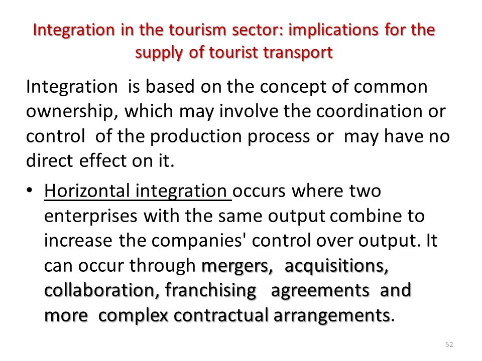 Integration in the tourism sector: implications for the supply of tourist transport