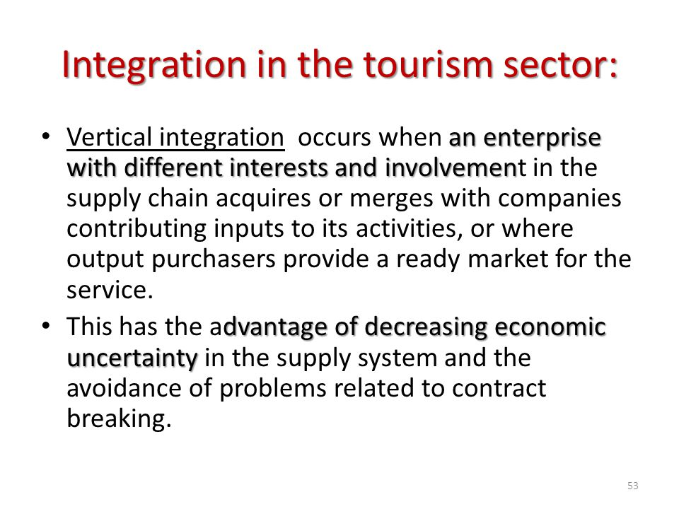 Integration in the tourism sector: