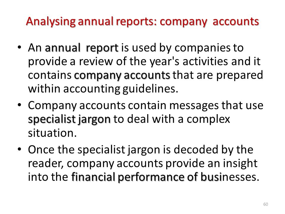 Analysing annual reports: company accounts