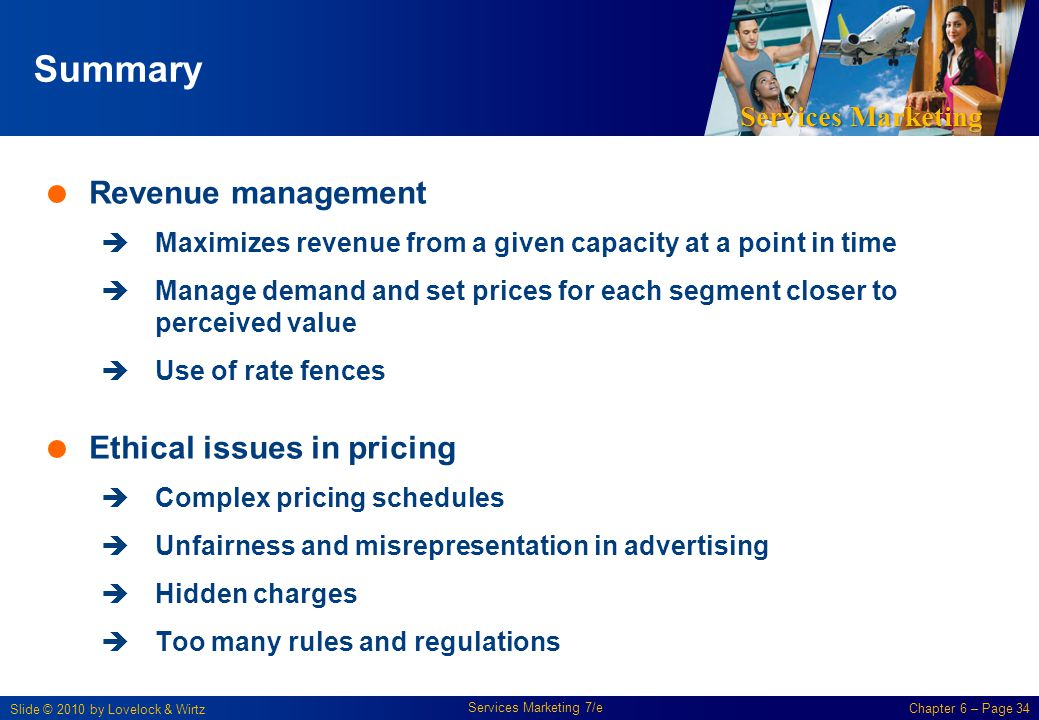 Summary Revenue management Ethical issues in pricing