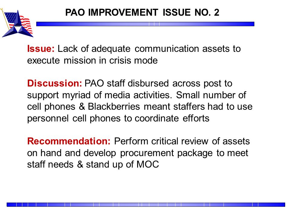PAO IMPROVEMENT ISSUE NO. 2
