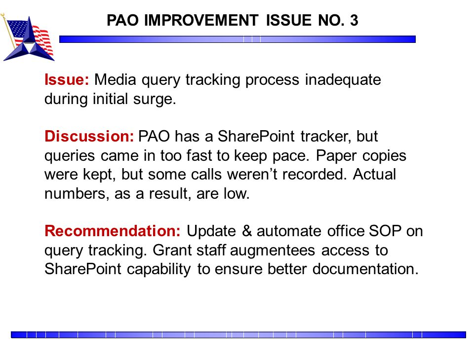 PAO IMPROVEMENT ISSUE NO. 3