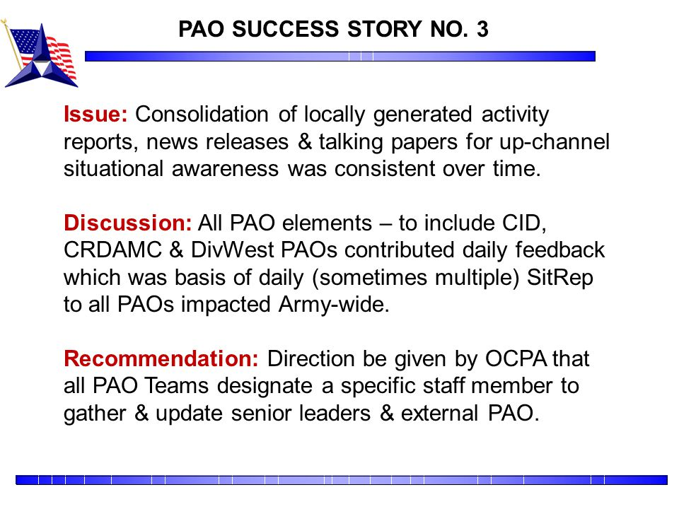 PAO SUCCESS STORY NO. 3